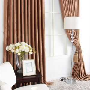 ( One Panel ) Contemporary Brown Ployester Weaving Blackout Curtains-MLZ9060