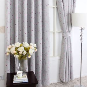 ( One Panel ) American Style Print Floral Pattern Grey Polyester Blackout Curtains-MLS9145