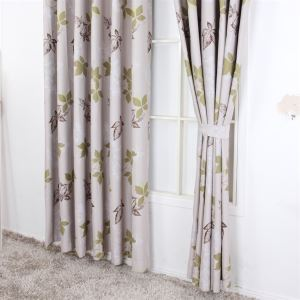 ( One Panel ) Country Style Print Leave Pattern Grey Polyester Blackout Curtains -MLS9146