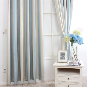 ( One Panel ) Mediterranean Print Stripe Pattern Blue Polyester Blackout Curtains-MLZ9153