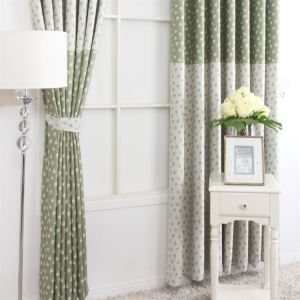 ( One Panel ) Country Style Print Floral Pattern Green and Grey Polyester Blackout Curtains-MLZ9155