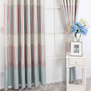 ( One Panel ) Contemporary Print Stripe Pattern Red and Blue Polyester Blackout Curtains-MLZ9156