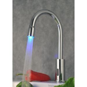 Contemporary Brass LED Sensor Chrome Finish Bathroom Sink Faucet