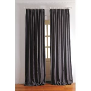 ( One Panel ) Contemporary Solid Dark Grey Energy Saving Curtains-2038