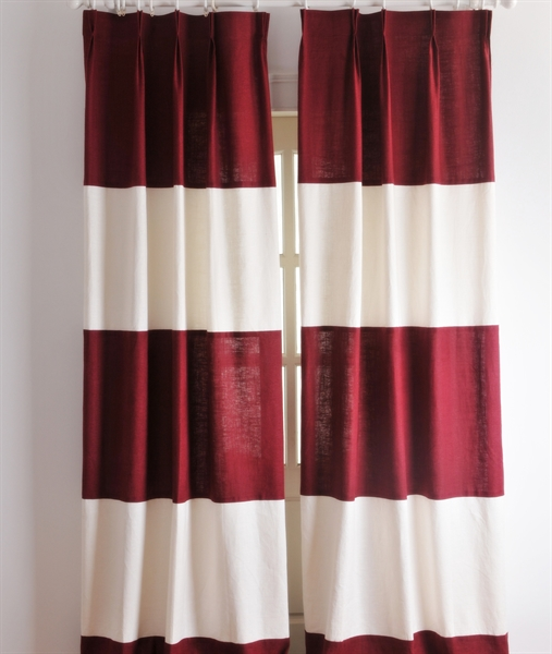 Energy Saving Curtain Neoclassical Stripe Red And White