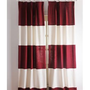 ( One Panel ) Neoclassical Stripe  Red and White Energy Saving Curtains-2039