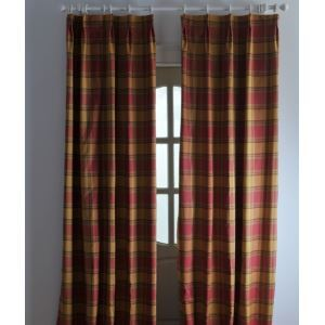 ( One Panel ) Country Stripe Red Polyester Blackout Curtains-2041
