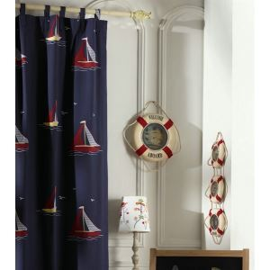 ( One Panel ) Country Novelty Dark Blue Embossed Cotton Blackout Curtains-2078