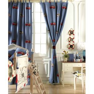 ( One Panel ) Country Novelty Blue Embossed Cotton Blackout Curtains-2079