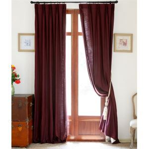 ( One Panel ) Country Solid Linen Room Darkening Curtains