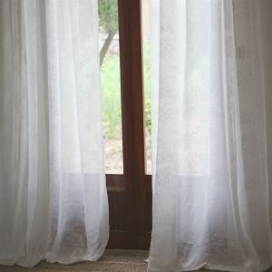 ( One Panel ) Modern Solid White Jacquard Polyester Sheer Curtains