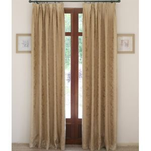 ( One Panel ) Modern Solid Gold Jacquard Cotton Room Darkening Curtains