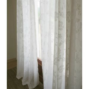 ( One Panel ) Modern Floral White Jacquard Polyester Sheer Curtains