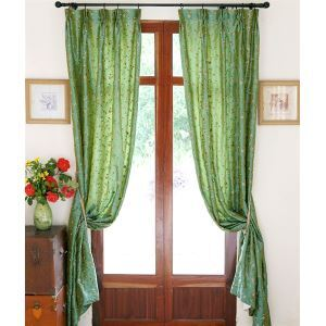 ( One Panel ) Modern Floral Green Embossed Polyester Room Darkening Curtains