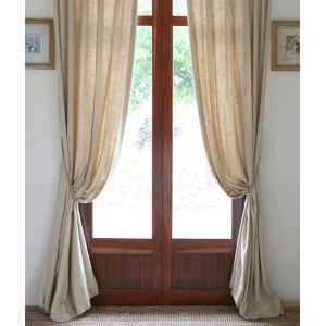 ( One Panel ) Country Solid Nature Linen Room Darkening Curtains