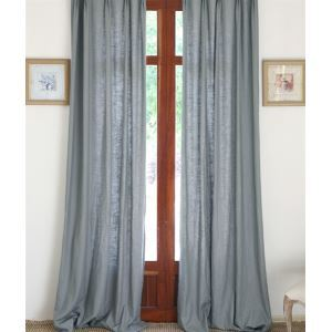 ( One Panel ) Country Solid Light Grey Linen Room Darkening Curtains