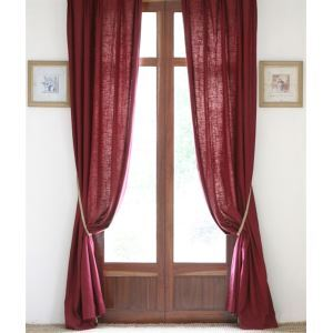 ( One Panel ) Country Solid Burgendy Linen Room Darkening Curtains