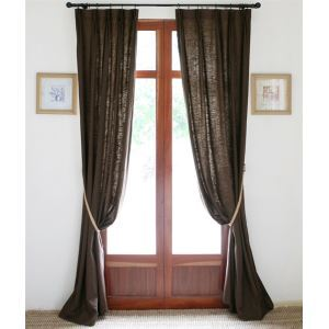 ( One Panel ) Country Solid Coffee Linen Room Darkening Curtains