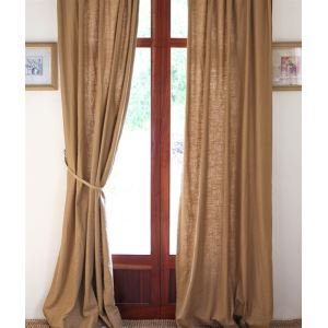( One Panel ) Country Solid Kahki Linen Room Darkening Curtains