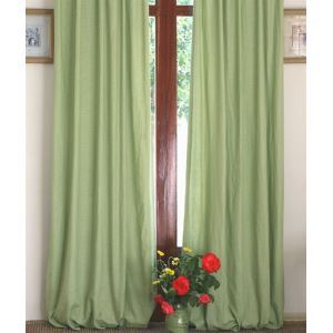 ( One Panel ) Country Green Green Linen Room Darkening Curtains