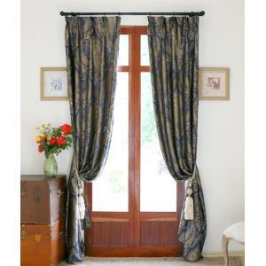 ( One Panel ) Neoclassical Novelty Blue Jacquard Rayon Energy Saving Curtains