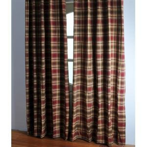 ( One Panel ) Country Stripe Red Polyester Blackout Curtains-2042