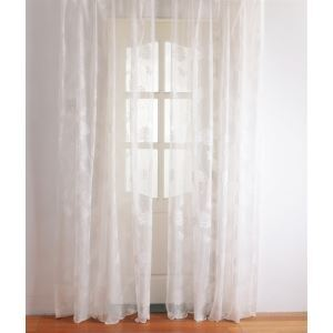 ( One Panel ) Modern Floral White Jacquard Polyester Sheer Curtains-2049