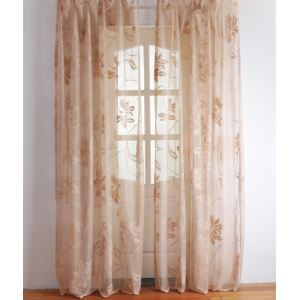 ( One Panel ) Modern  Floral Yellow Jacquard Polyester Sheer Curtains-2050