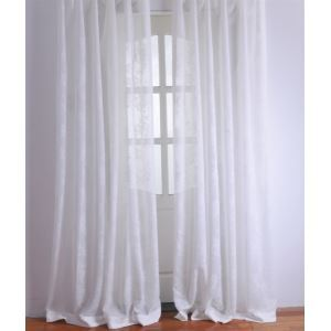( One Panel ) Modern Floral White Jacquard Polyester Sheer Curtains-2051