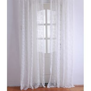 ( One Panel ) Modern Floral White Jacquard Polyester Sheer Curtains-2052