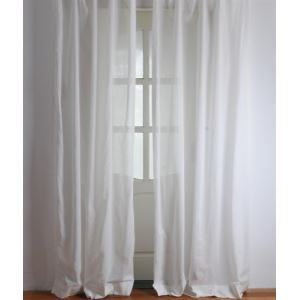 ( One Panel ) Modern Solid White Linen Sheer Curtains-2053