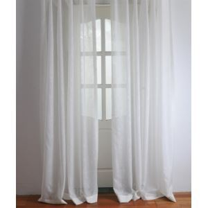 ( One Panel ) Modern Solid White Embossed Polyester Sheer Curtains-2054
