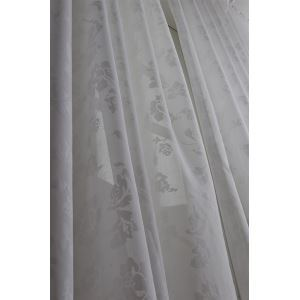 ( One Panel ) Modern Solid White Jacquard Polyester Sheer Curtains-2055