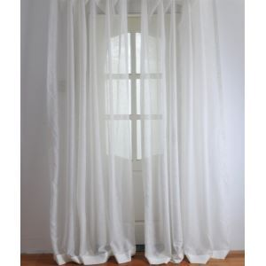 ( One Panel ) Modern Solid White Embossed Polyester Sheer Curtains-2059