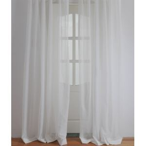 ( One Panel ) Modern Solid White Embossed Polyester Sheer Curtains-2060