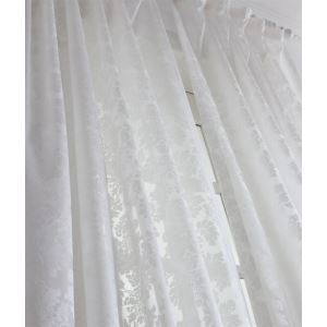 ( One Panel ) Modern Solid White Jacquard Polyester Sheer Curtains-2062