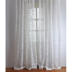 ( One Panel ) Modern Solid White Jacquard Polyester Sheer Curtains-2063