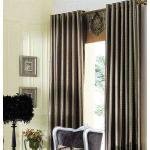 ( One Panel ) Country Solid Grey Jacquard Polyester Blackout Curtains-2064