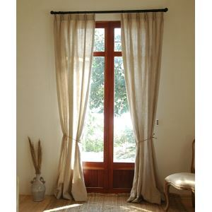 ( One Panel ) Country Solid Natural linen Room Darkening Curtains-2082