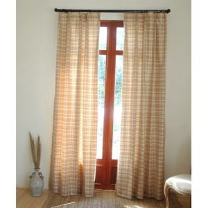 ( One Panel )  Country Plaid Beige Jacquard silk Room Darkening Curtains-2083