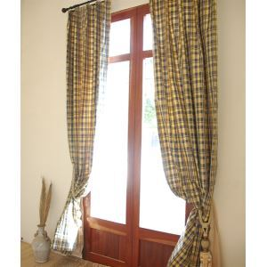 ( One Panel ) Country Plaid Bule Jacquard silk Room Darkening Curtains-2084