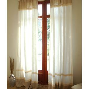 ( One Panel ) Country Solid White and Natural Linen Room Darkening Curtains-2085