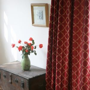 ( One Panel ) Modern Plaid Red Embossed Polyester Room Darkening Curtains-119