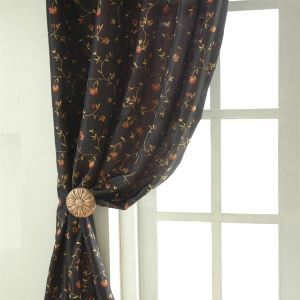 ( One Panel ) Country Floral Black Embossed Polyester Room Darkening Curtains-120