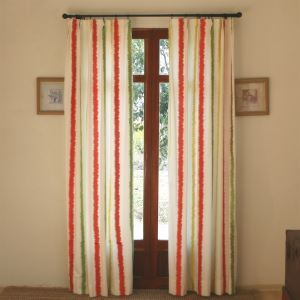 ( One Panel ) Modern Stripe White and Red Embossed Cotton Room Darkening Curtains-802