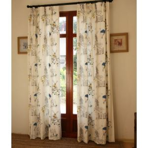 ( One Panel ) Country Floral White Embossed Cotton Room Darkening Curtains-803