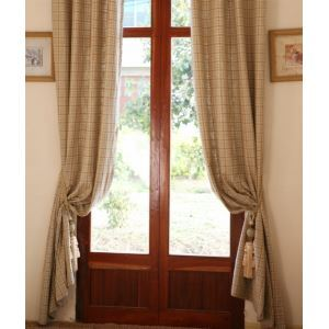 ( One Panel ) Modern Plaid Beige Jacquard  linen Room Darkening Curtains-804