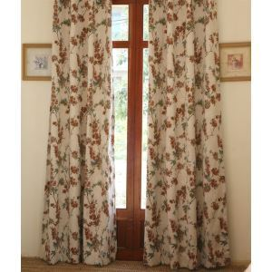 ( One Panel ) Country Floral Multicolored Embossed Poly Room Darkening Curtains-806