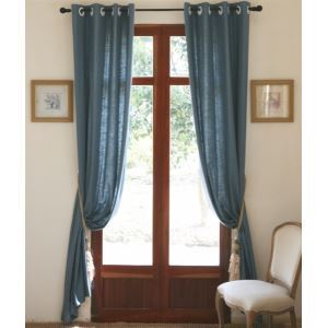 ( One Panel ) Modern Solid Bule Linen Room Darkening Curtains-808