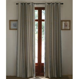 ( One Panel ) Country Stripe White and Bule Jacquard Poly Room Darkening Curtains -810